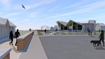 How the Beach Cafe woiuld look from Sea Road as you approach the entrance to Martello Park in Felixs