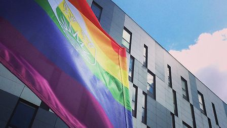 Rainbow Flag at Suffolk Pride outside UCS. This year the Suffolk Pride celebrations will be held in