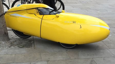 The banana-shaped bike/car spotted in Ipswich. Picture: ANDREW PAPWORTH