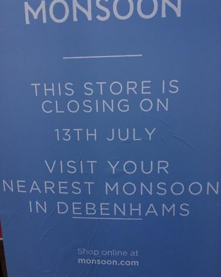Monsoon in Ipswich has signs up saying it is closing down on July 13. Picture: ARCHANT