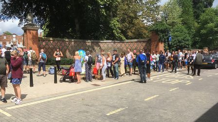 A queue to get into Ipswich Music Day in Christchurch Park. Picture: PAUL GEATER