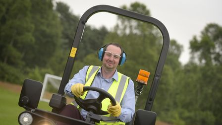 Internet sensation Jimmy the Mower, aka James Broadhouse at the Ransomes Factory in Ipswich Picture