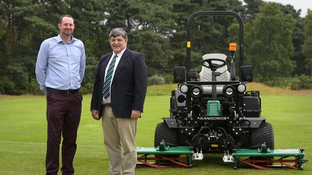 Jimmy the Mower (James Broadhouse) with John Quinton from Ransomes Picture: SARAH LUCY BROWN