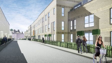 A CGI of McCarthy and Stone's plans for retirement homes on the former Archant newspaper offices and