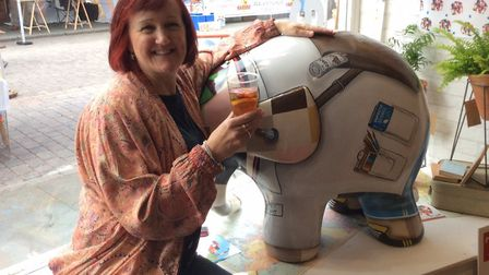 Summer street market in The Saints, Ipswich on Sunday. Cathy Frost raises a glass to toast the Elmer