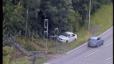 A BMW 1 series has crashed on the A14 near Felixstowe Picture: HIGHWAYS ENGLAND