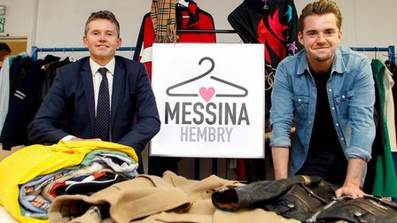 Allen Fulcher,of Barclays Business and Zac Hembry of Messina Hembry Clothing at the company's distri