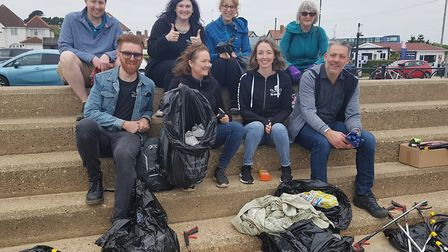 Members of the Suffolk County Council vegan network at Southwold beach clean. Picture: JACK BARBER