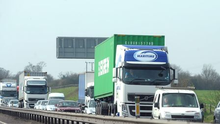 Traffic on the A12 at Copdock. Picture: PHIL MORLEY