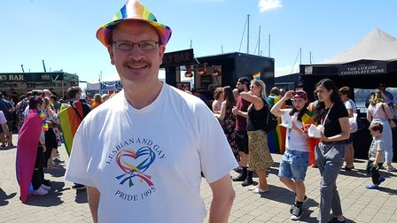 Sandy Martin, MP for Central Ipswich, at Suffolk Pride on the Ipswich Waterfront Picture: RACHEL ED