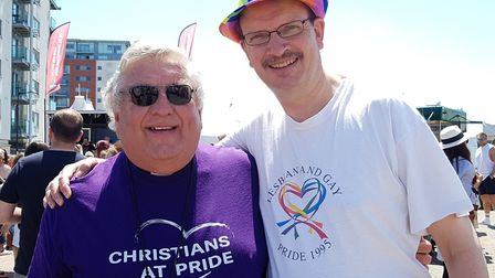 Rev Andrew Dotchin and Sandy Martin MP at Suffolk Pride 2019 Picture: RACHEL EDGE