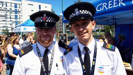 Suffolk police officers at the pride parade on the Ipswich Waterfront Picture: RACHEL EDGE