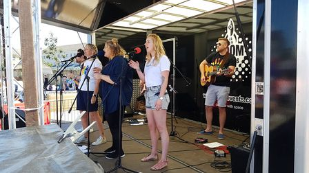 Entertainment on stage at Suffolk Pride on the Ipswich Waterfront Picture: RACHEL EDGE