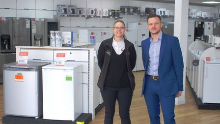 Hughes launch new discount electrical store in Ipswich. Rachael Murrell and Luke Croucher in the Hug