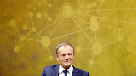 The President of the European Council Donald Tusk addresses the UCD Law Society at O'Reilly Hall, UC