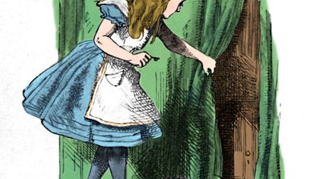 'Alice looking at a small door behind a curtain', 1889. Lewis Carroll's (1832-1898) 'Alice in Wonder