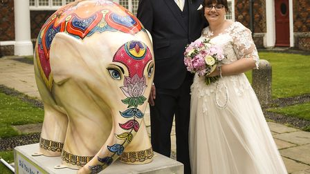 The new Mr and Mrs McCarthy who had their picture taken on the Elmer Suffolk Parade trail just minut