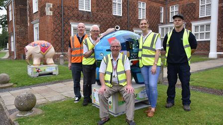 Some of the Elmers in Christchurch park alongside the Elmer's Big Parade Suffolk team Picture: SONYA