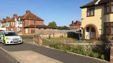 The scene in Landseer Road, Ipswich, where a 16-year-old boy was stabbed Picture: JASON NOBLE