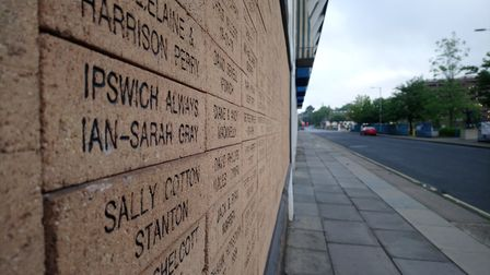 Ipswich always: Fans of Ipswich Town FC inscribed in the side of the Portman Road stadium Picture: A