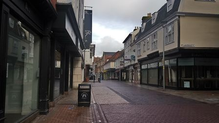 These empty streets: Ipswich's high street awaits the first shoppers of the day Picture: ARCHANT
