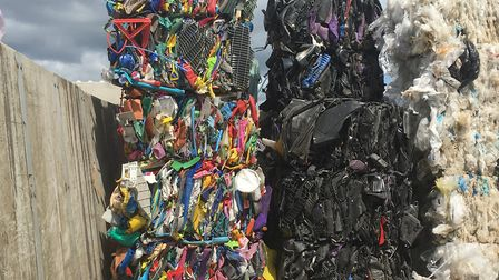 Different types of plastic in bales