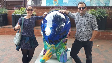 Emily Tiplady and Karl Forsdike on the Elmer's Big Parade - Suffolk trail. Picture: KARL FORSDIKE