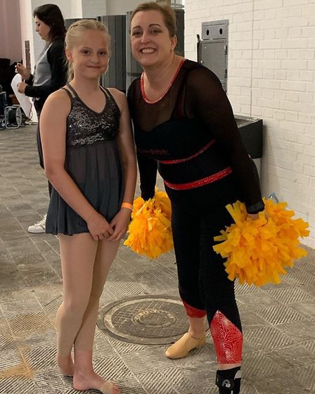 Enigma Cheerleading Academy head coach Helen Wright with Chloe Bates in Barcelona Picture: ENIGMA CH