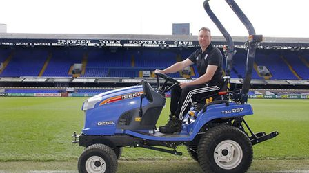 Ben Connell, Grounds Manager, Ipswich Town Football Club at Portman Road. Ipswich Town is switching