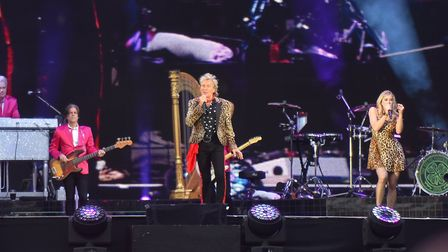 Rod Stewart performing at Portman Road in Ipswich, 2019. Picture: DANIELLE BOODEN