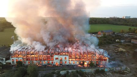 The inferno engulfs the former Fisons Factory at Bramford Picture: SKY CAM EAST