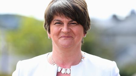 DUP leader Arlene Foster speaks to members of the media following a meeting with a delegation of Iri