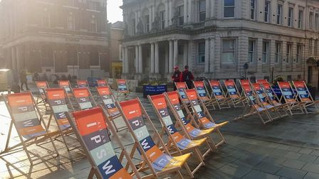 The deckchairs on the Cornhill in Ipswich. Picture: IPSWICH CENTRAL