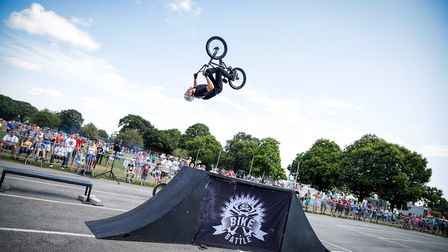 An impressive BMX display at Festival of Wheels Picture: HAPPY DAYS PHOTOGRAPHY