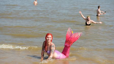 Patty Przywara enjoying the sea in her mermaid costume Picture: SARAH LUCY BROWN
