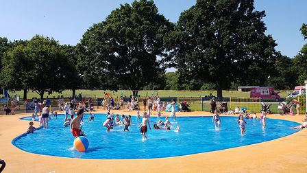 The paddling pool at Bourne Park on Tuesday afternoon Picture: RACHEL EDGE