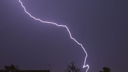 A fork of lightning in Suffolk Picture: JAMES HADLEY
