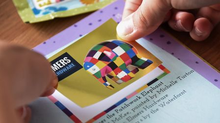 The Elmer swap shops will be open soon for fans to trade in their Elmer's Big Parade stickers. Pictu