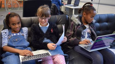 Young people at a CoderDojo event at Ipswich Library last year. Picture: JULIA HUNTER/SUFFOLK LIBRAR