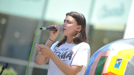 Young Ipswich singer Roma Nicholson busked her way around the Elmer trail - singing 55 songs at 55 E