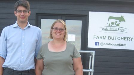 Ben and Georgina Woolf outside Oak House Farm's new on-farm butchery where they can now process thei