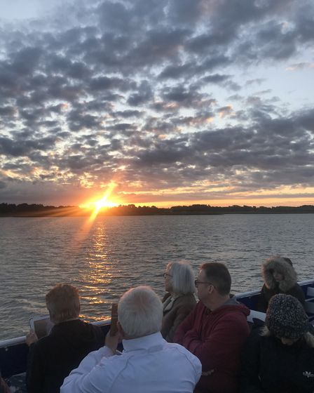 Dawn on the summer solstice 2019, on board the Orwell Lady on the River Orwell. Picture: EMMA LIGHTF