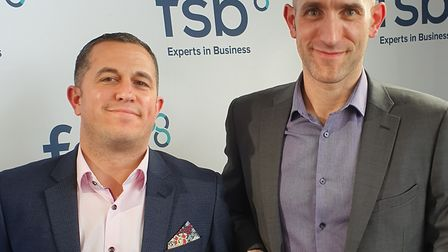 From left, Lee Steward and Darren Ryan of Morrison Freight receiving their prize at the FSB East of