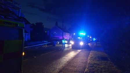 A stretch of the A137 remains closed to traffic following the crash in Tattingstone Picture: ADAM HO