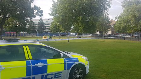 Police have cordoned off an area of Alderman Park, in Ipswich Picture: WILL JEFFORD