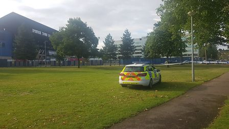 A police cordon is in place at Alderman Park in Ipswich opposite Portman Road. Picture: ARCHANT