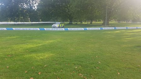 Polcie officers remain on scene at Alderman Park in Ipswich opposite Portman Road. Picture: ARCHANT