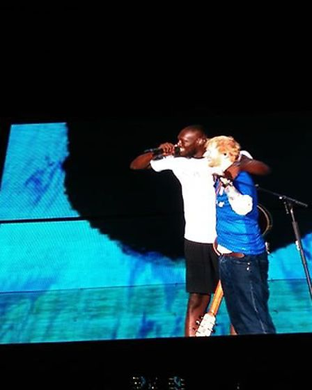 Ed surprised fans by introducing Stormzy to the stage on Sunday Picture: KELLY MARIE