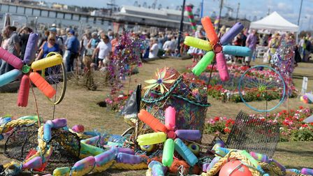 Dotty the sculpture that has been made from plastic waste found in Felixstowe Ferry Picture: SARAH