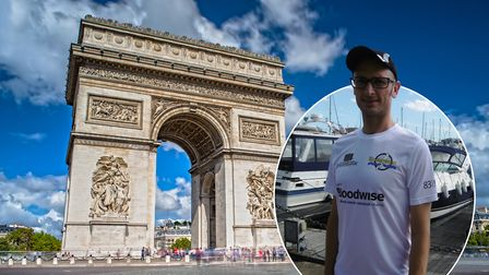 Dan Coughlan, from Ipswich, who is taking on the Enduroman challenge, Marble Arch to the Arc De Trio